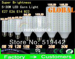 Wholesale Energy Saving E14 Led - E27 E26 E14 B22 5050 SMD LED Corn Bulb Light 360degree Maize Lamp Energy Saving light Cool White 5W 7W 10W 12W 15W 20W 25W 30W New Arrival