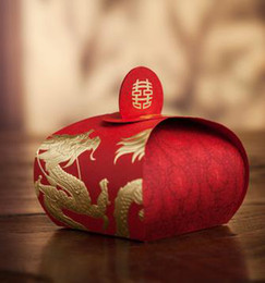 Dragon Phoenix Rouge Pas Cher-Red Candy Box Lantern Boîtes Cadeaux Wedding Favors Hot Stamping Chinese Style Dragon et Phoenix Chocolate Holders Festival Fournitures 50 Pcs