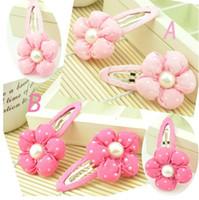 Wholesale Pink Bobby Pins - 50pcs lot,fashion cute polka dot flower hairclip bobby pin,kids girls headwear children Hair Accessories