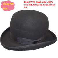 Wholesale Ladies Party Wear Tops - Wholesale New fashion black bowler hats billycock,derby,bowler derby,wedding cap 100% wool wear in winter ,fall ,spring,Ascot,ladies day