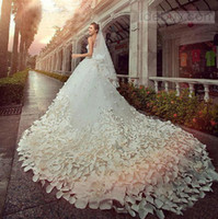 Wholesale Cathedral Train Flower - Gorgeous White 2017 Wedding Dresses Beading Crystal Tulle Ball Gowns Bridal Dresses Gowns for Bride Cathedral Train Applique Custom New