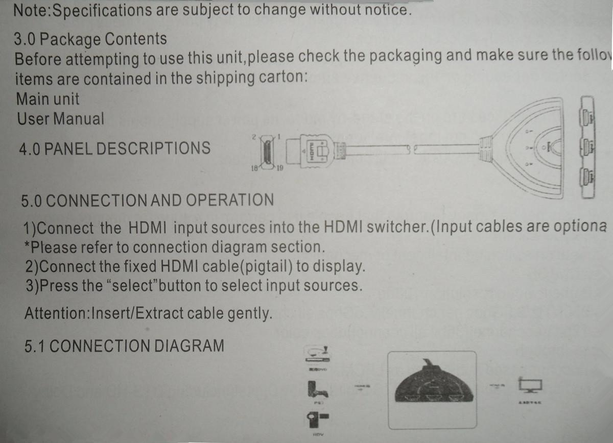 3 Port Hdmi 14b 3d 1080p Switcher Switch Splitter For Hdtv Dvd Ps3 Wiring Diagram The Can Send A Signal From Any Source To Display High Definition Video And Digital Audio Transmission