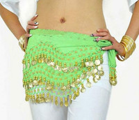 Wholesale belly dance ruffled skirts - Stage Wear 12 Colors 3 Rows 128 Coins Belly Egypt Dance Hip Skirt Scarf Wrap Belt Costume