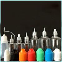 e elektronik sigara için sıvı şişe toptan satış-ChildProof Kapaklı E sıvı için Damlalık Şişesi 5ml 10ml 15ml 20ml 30ml 50ml Elektronik Sigara Plastik PET Şişeler