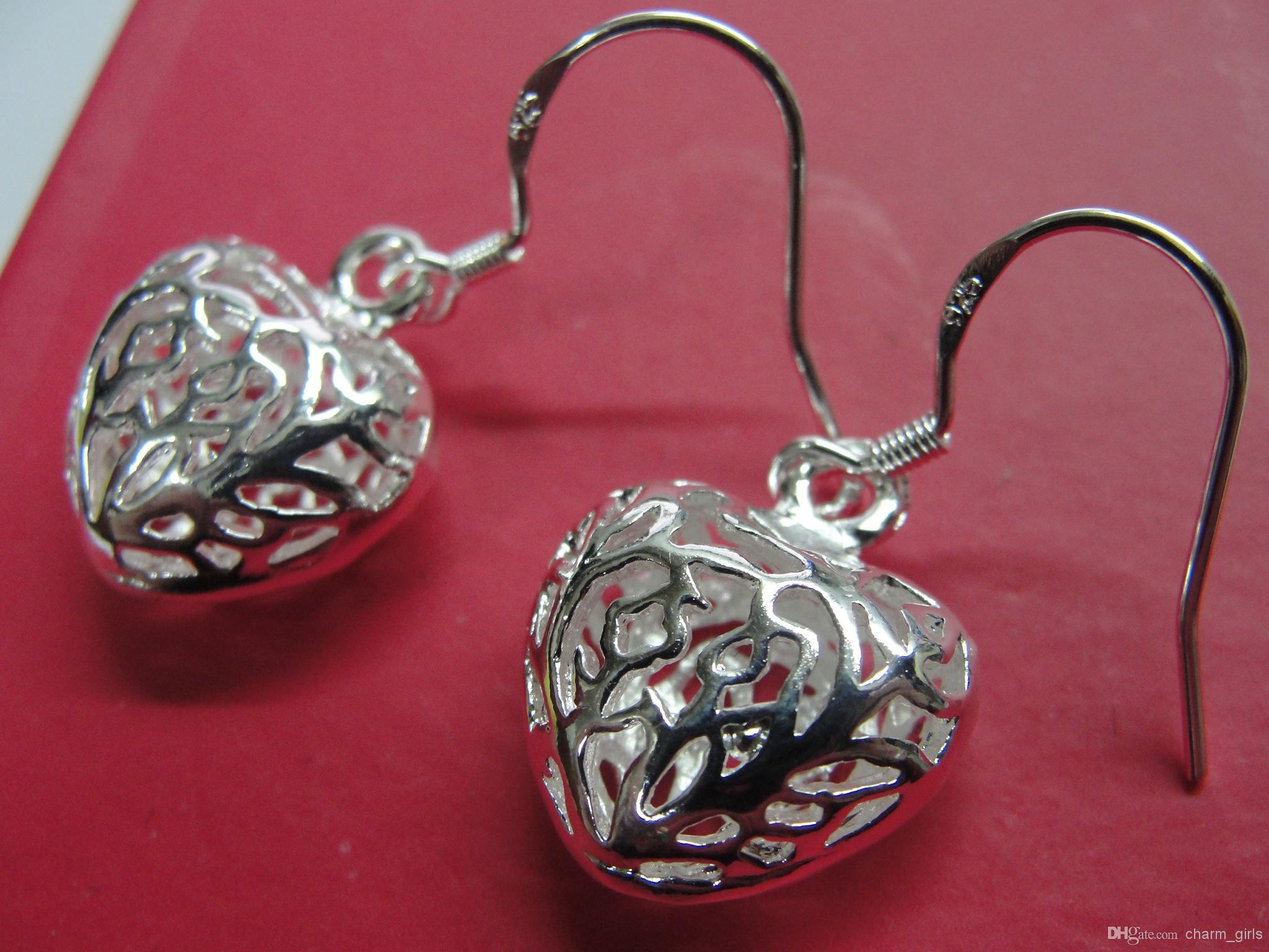 Conjuntos de Jóias de Jóias de coração 925 Prata Colares Brincos Conjunto Preço de Fábrica Design de Moda melhores Presentes / lote