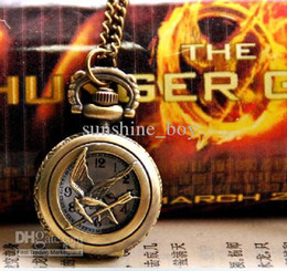 Wholesale Necklace Watch Beaded - Wholesale - 10pcs Hunger game antique watches pocket womens pocket watches pocket watch pendants Fashion pendant necklace