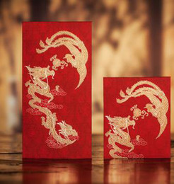 Wholesale Dragon Gift Bags - CHINA TRADITIONAL Wedding Favor Red Packet Money Envelope Gift bag Hot Stamping Dragon and Phoenix Pattern Free Shipping