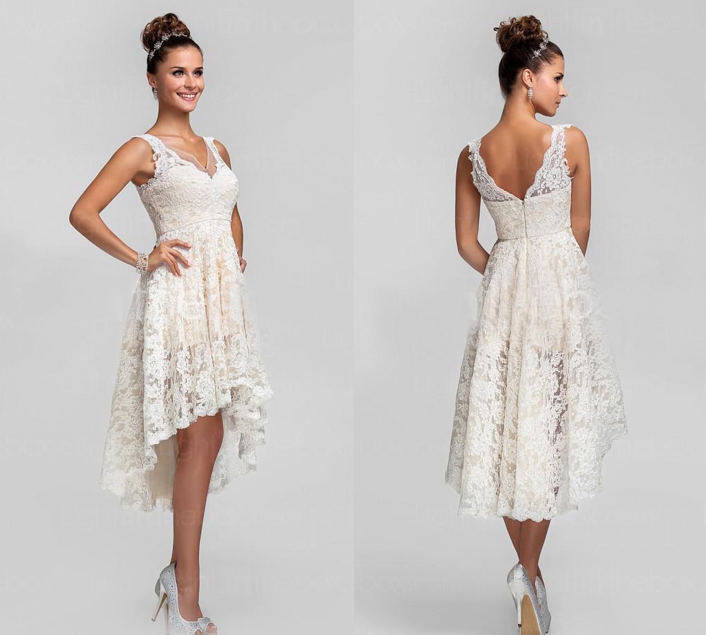 Hi Lo Wedding Gowns: Discount V Neck A Line Hi Lo Lace Wedding Dresses 2014