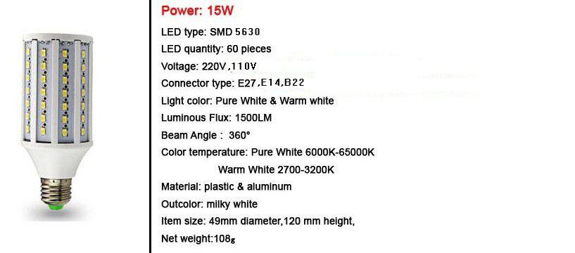 Lámpara del bulbo del maíz del LED 5630 SMD10w / 15w / 25w / 30w / 40w / 50w E27 B22 E14 210-240V 110-130V Luz ahorro de energía / / / / /
