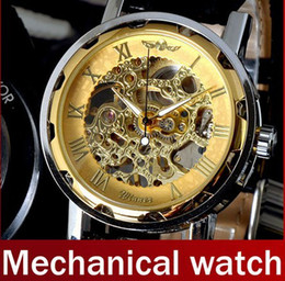 Wholesale Hollow Skeleton Mechanical Watch - Winner Hollow LUXURY Black Leather Band Stainless Steel Skeleton Mechanical Watch Gold BLACK silver luxury men Wrist Watches Free Ship