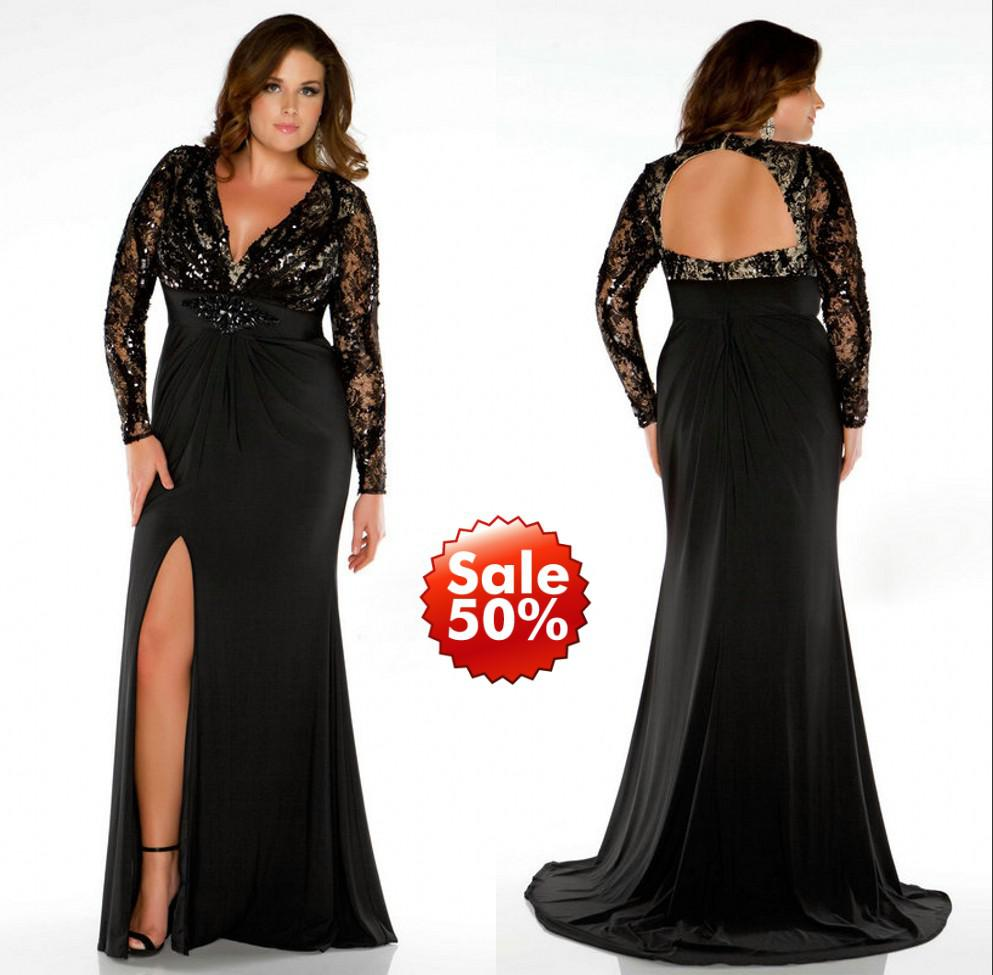2019 Plus Size Prom Dresses Lady Evening Gown Formal With Mermaid V Neck  Long Sleeve Backless Beads Sequins Crystal Black Lace Side Split