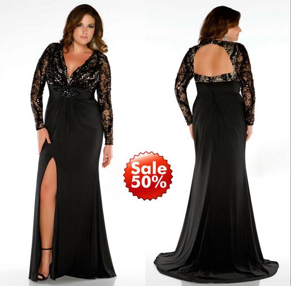2019 plus size prom kleider dame abendkleid formal mit meerjungfrau v-ausschnitt langarm rückenfrei perlen pailletten kristall schwarzer spitze side split