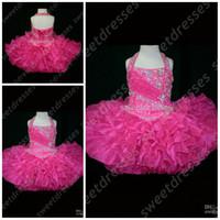 Wholesale Orange Cupcake Skirt - MiNi Halter girls pageant dresses size Backless Beads Sequined Body Ruffled Skirt Organza Little Rosie Cupcake Dress Flower Girl Gown OX002