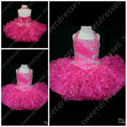 Wholesale White Cupcake Pageant Skirt - MiNi Halter girls pageant dresses size Backless Beads Sequined Body Ruffled Skirt Organza Little Rosie Cupcake Dress Flower Girl Gown OX002