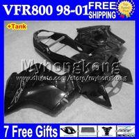 Wholesale Vfr Interceptor - 7gifts+Tank glossy black For HONDA VFR800 Interceptor MY6236 all black VFR 800RR 98 99 00 01 VFR 800 VFR800RR 1998 1999 2000 2001 Fairing