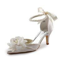 fildişi çiçek topuklu ayakkabı toptan satış-Fildişi Saten Düğün Gelin Ayakkabı Sivri Burun Çiçekler Inci Boncuk Orta Topuklu Kadınlar için Akşam Parti Ayakkabı
