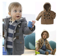 Wholesale Casual Coat Outerwear Autumn Winter - Baby Boys Jacket Clothes 2015 New Winter 2 Color Outerwear Coat Thick Kids Clothes Children Clothing With Hooded Retail Hot