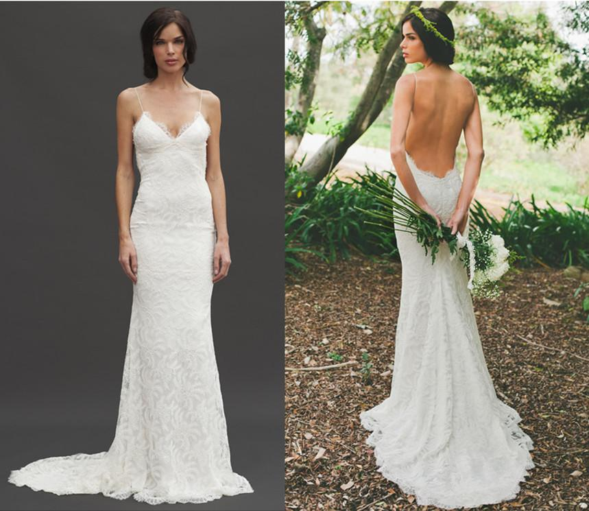 2014 Most Popular Sheer Lace Backless Wedding Dresses