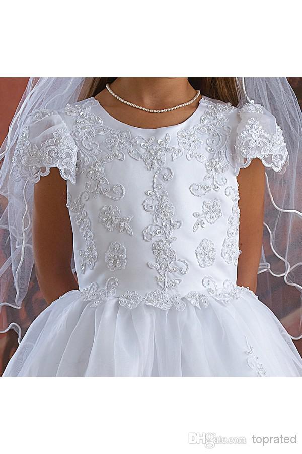 2019 vit första kommunion klänning blomma tjejer klänningar för bröllop med a-line capped kort ärm båge sash appliques spets pärlor te längd