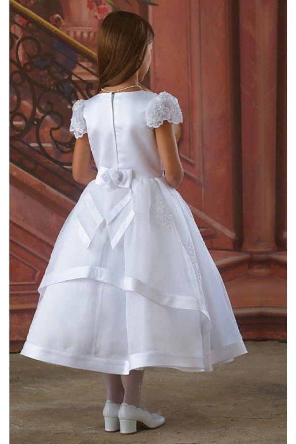 2019 Primera comunión Vestido de la primera comunión Vestidos de las niñas para la boda con una línea de un-línea de manga corta de la manga de la faja de la faja de los apliques de encaje de la longitud del té