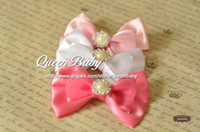 bling bow tie - Silk Bow Tie Bow clip with Bling Pearl Button Handmade Baby Bow Tie Hair Clip QueenBaby Trial Order