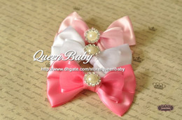 Wholesale Tie Clip Button - Silk Bow Tie Bow clip with Bling Pearl Button , Handmade Baby Bow Tie Hair Clip 30pcs lot QueenBaby Trial Order