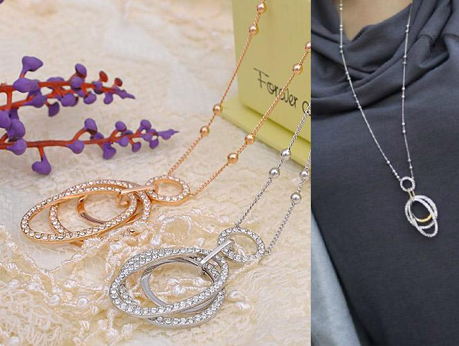 hansel Europe sweater chain, long sweater necklace,18K gold pleated crystal rose /silver color jewelry sets for new 2013 women
