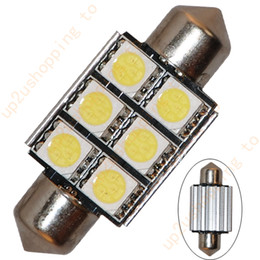 "Wholesale Led Error Free 36mm - 20pcs 36MM 1.50"" White LED Dome Festoon Map Light Bulb 6 SMD Canbus Error Free for good price free shipping"