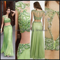 Wholesale Cheap Neon Dress - 2014 Two Piece Party Dress Cheap Beaded Neon Green Floor Length Bateau Neckline Sheer Back-hole Prom Dresses Peageant Gowns Zipper YDS95