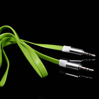 video kablosu kalitesi toptan satış-100 adet EN Kaliteli Düz Şehriye 1 M 3.5mm Araba Aux Ses Kablosu MP3 iphone cep telefonu Hoparlör Için