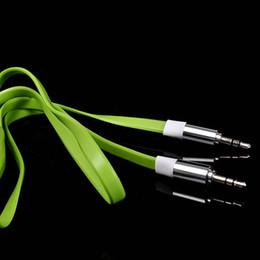 Vga rca audio video cable en Ligne-100pcs TOP Qualité Plat Nouilles 1 M 3.5mm Voiture Aux Audio Câble Pour MP3 iphone téléphone portable Haut-Parleur