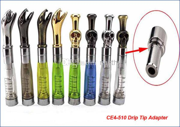 360 Degree Rotatable metal drip tips with CE4-510 drip tip adapter connector CE4 CE5 CE6 Atomizer Mouthpiece fit ego ego t ego w evod E cig
