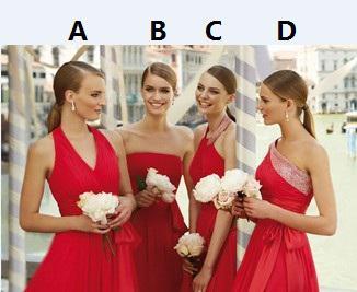 4 estilos nuevos estilos plisado y cruzado cariño una línea de longitud de la gasa vestidos de dama de honor