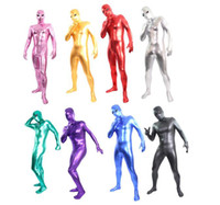 Wholesale Latex Body Suit Costume - open eyes style unisex Zentai Shiny Body Suit Alien Eyes Shiny Lycra Fancy Dress Bodysuitfor party Halloween