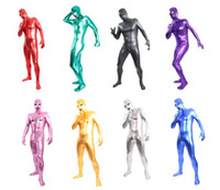Wholesale Latex Body Suit Costume - 8 colors open eye and mouth unisex Zentai Shiny Body Suit Alien Eyes Shiny Lycra Fancy Dress Bodysuitfor party Halloween days