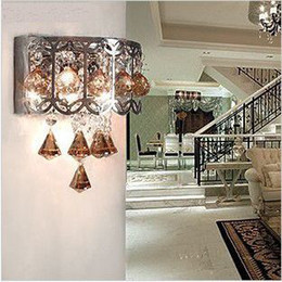 Wholesale Livingroom Lamps - Modern brown crystal wall lamp Fashion livingroom lighting Dia 21CM sconce light Free shipping WL063