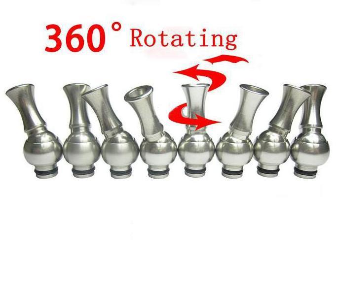 Toppkvalitet Roterbar Rostfritt stål Drip Tip Metal Dropptips för 510 dct Vivi Nova Atomizer Cartomizer Clearomizer Ecigs