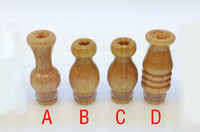Wholesale Ego Type Atomizer - Hot Wood Drip Tip Pure Natural Mouthpiece 510 type Fit Ego Atomizers for EGO T EGO VV EGO Twist Electronic Cigarette