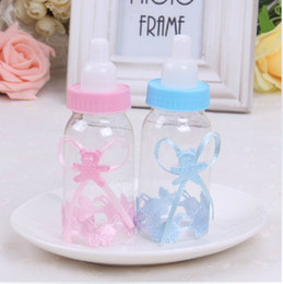 Wholesale Baby Shower Gift Box Favors - Wholesale - 50pcs lot Baby Shower Little Bottle nursing bottle Baptism Favors Candy Gift Boxes Feeding bottle Free Shipping