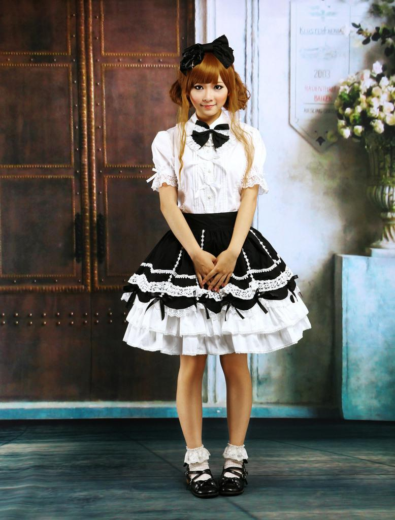 cotton white lolita blouse and black lolita skirt outfit sissy maid