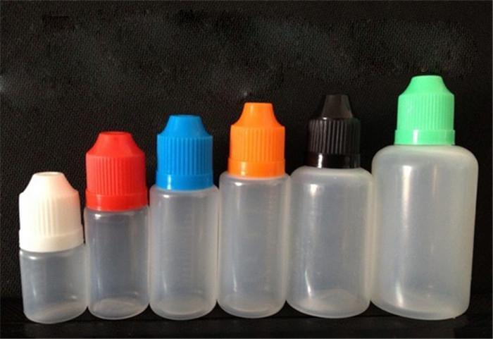 Botellas de líquidos PE a prueba de niños e con punta de gotero larga y delgada 5 ml / 10 ml / 15 ml / 20 ml / 30 ml botellas de líquido e fábrica al por mayor