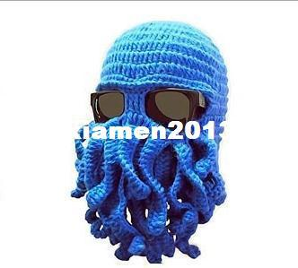 7 colors New 2014 Novelty Handmade Knitting Wool Funny Beard Winter Octopus Hats&caps Crochet Beanies Unisex Gift.Free Shipping