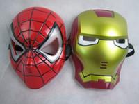 mascara de led para niños al por mayor-10 unids Halloween Hoilday Cosplay lámpara LED Spider man Máscara Niños Festival Iron Man Resplandeciente Máscara de la iluminación Mascarada Partido máscara roja Regalo del muchacho