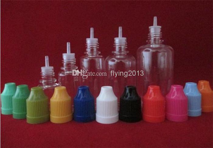 PET kindersichere e Flüssigkeitsflaschen mit langer, dünner Tropfenspitze 5 ml / 10 ml / 15 ml / 20 ml / 30 ml e Flüssigkeitsflaschen Günstige Flaschen, schneller Versand