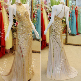 Wholesale Best Green Designs - Best Selling 2015 Design Fashion Party Beaded Mermaid High Collar Gold Party Floor Length Prom Dresses Pageant Gowns Xi8-3
