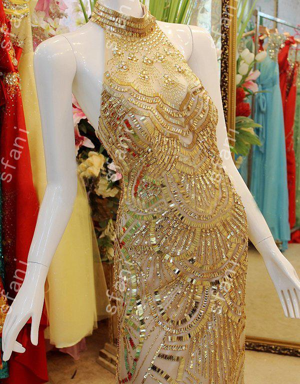 Best Selling 2021 Design Fashion Party Beaded Mermaid High Collar Gold Party Floor Length Prom Dresses Pageant Gowns Xi8-3