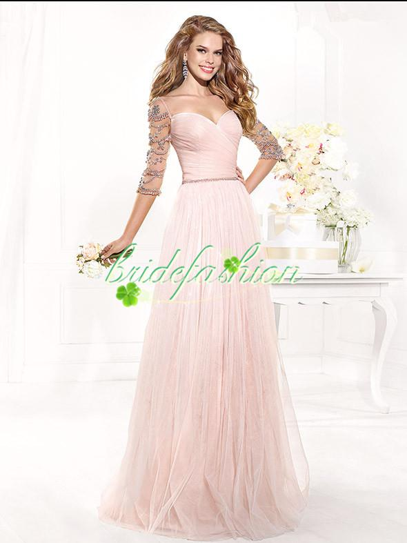 2014 Plus Size Sexy V Neck Lace Crystals Pleated Taffeta Mer…r Of The Bride Dresses With Half Sleeve Jacket Bolero BO3613
