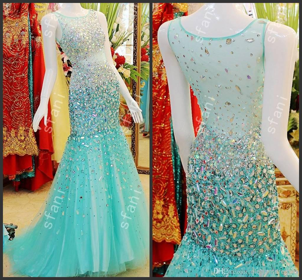 Best Selling 2014 Design Fashion Beaded Mermaid High Collar Tulle ...