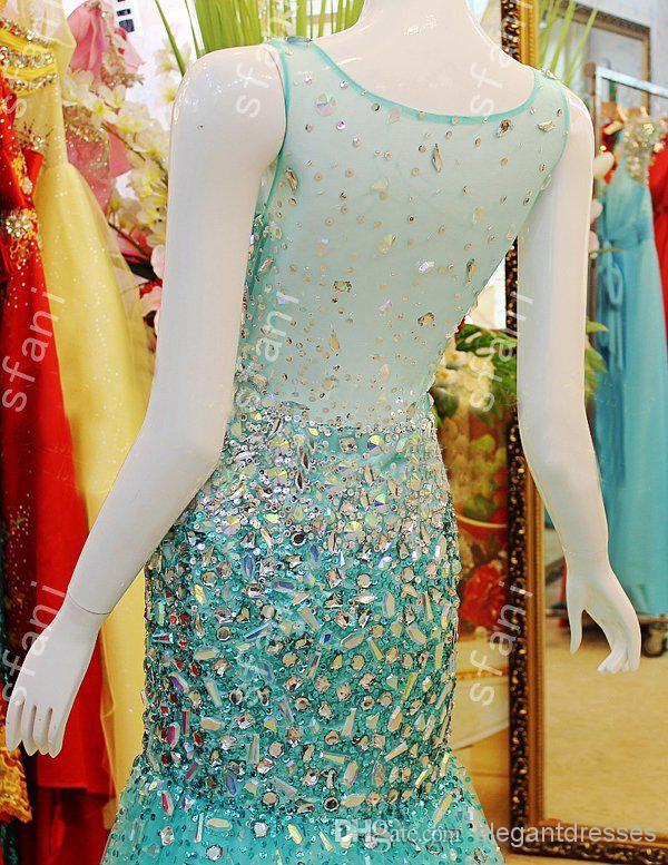 Best Selling 2019 Design de Moda Frisada Sereia Alta Collar Tulle Partido Comprimento Do Assoalho Vestidos De Prom Dos Vestidos Do Pageant Vestidos Da Parte Da Noite