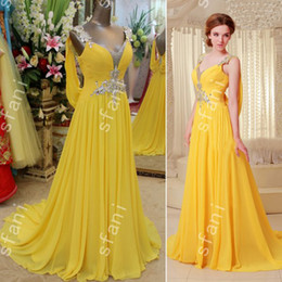 Wholesale Design Best Selling - Best Selling 2014 Design Fashion Beaded A-line Chiffon Sweetheart Party Floor Length Prom Dresses Pageant Gowns Xi8-5